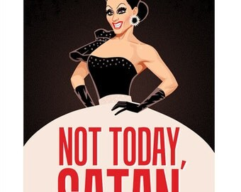 Bianca Not Today Satan Postcard
