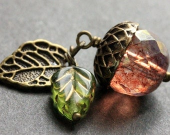Cherry Pink Acorn Necklace. Crystal Acorn Necklace. Acorn Charm Necklace in Bronze. Handmade Jewelry.
