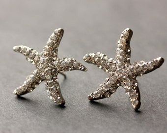 Rhinestone Starfish Earrings. Silver Starfish Earrings. Post Earrings. Star Fish Earrings. Silver Earrings. Stud Earrings. Handmade Jewelry.