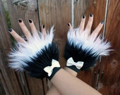 Black and White Fluffie Furry Hand Cuffs with White Bows