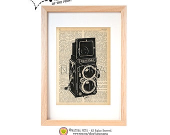 Vintage Rolleiflex camera dictionary print-N01-Rolleiflex camera art print-Vintage camera print- Upcycled Dictionary art-by NATURA PICTA