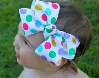 Big Bow Headband - Polka Dot Hair Bow - Spring Hair bow - Large HairBow