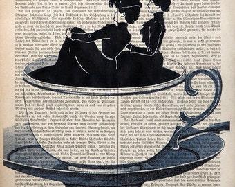COFFEE LADIES original mixed media art print poster acrylic painting