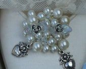 Ivory Pearl and Vintage Silver Heart and Rose Bud Bridal Wedding Shoe Clips.