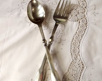 French silver plate serving spoon and fork