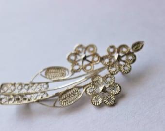Vintage Sterling Silver Filigree Flower Bunch Pin