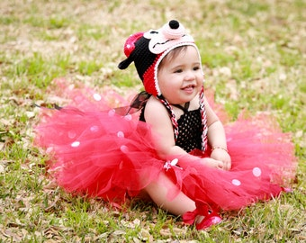 COMPLETE OUTFIT Tutu Dress Crochet Hat Minnie Mouse Set Baby Toddler Girls BIrthday Outfit Photo Prop Halloween Costume Black Red White Dots