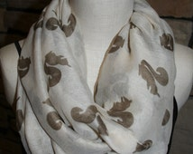 Squirrel Print Infinity Scarf Brown Squirrel off-white Circle scarf-Squirrel scarf-Womens Accessories- Loop Scarf Outdoors Scarf