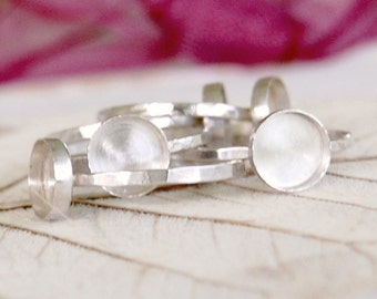 Five 8mm Bezel Cup Ring Blanks  - Sterling Silver - Your Sizes - Wholesale - Handcrafted - DIY Rings - Resin - Gemstone