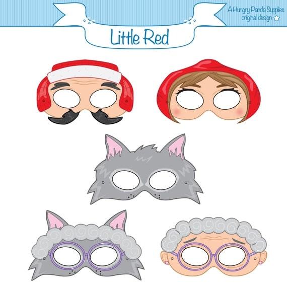 Little Red Riding Hood Printable Masks red riding hood wolf