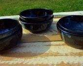 Black Ceramic Dip Bowls, Ceramic Black Ingredient Bowls, Small Black Halloween Bowls, Black Ceramic Stacking Bowls, Set of 2 small Bowls