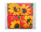 Flower Coasters SUNFLOWER SUNSET Stone Coasters Set of 4 Orange Red Yellow Decor Sunflower Coasters (s)