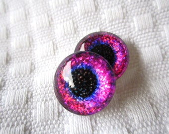 Glitter glass eyes for jewelry making 14mm handmade cabochons