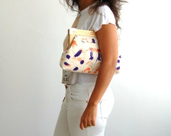 Hand painted clutch, fashion accessories,purple clutch, painted canvas