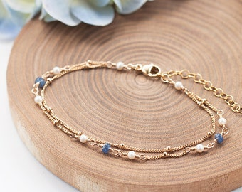 Bue Sapphire Bracelet, Freshwater Pearl Bracelet, Something Blue, Weddings, Bridal Jewelry, Bridesmaid Gift, Dainty and Feminine