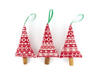 Red Christmas Decorations Fair Isle Rustic Tree Ornaments Fragrant Holiday Decor