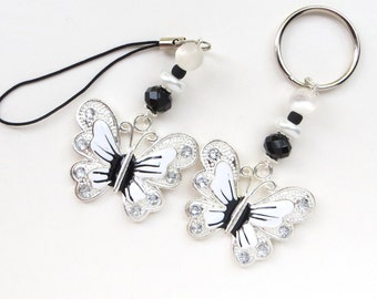 ELEGANT BUTTERFLY- Beaded Zipper Pull, Cell Phone, or Necklace Pendant- Pearls, Crystals, and Butterfly Charm