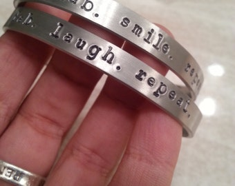 Dab smile repeat, dab laugh repeat, marijuana friendly jewelry, positive message, handmade bangle, stoner gift, Gift Wrapped FREE SHIPPING