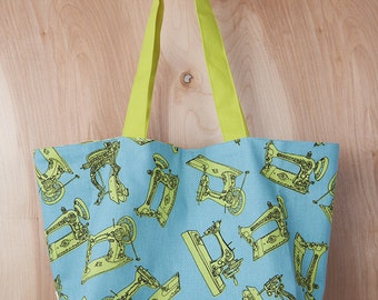 Antique Sewing Machine Tote Bag- Christmas Present- Tote bag- Canvas tote- Sky blue and Lime-  by beckyzimmdesign
