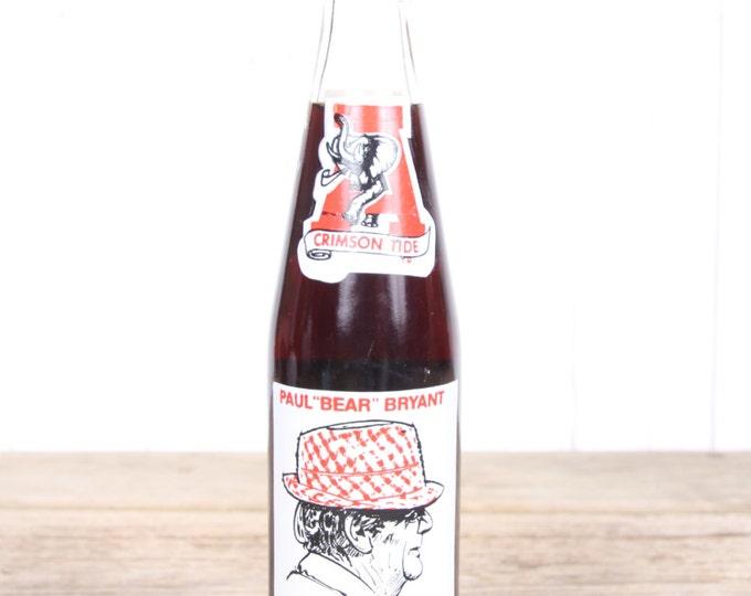 University of Alabama Coke Bottle / Bear Bryant Coke / Roll Tide / Vintage Coca Cola Bottle / Coca Cola Glass Bottle - Coke Cola Bottle