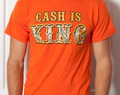 Unisex Tshirt - CASH IS KING - orange - M