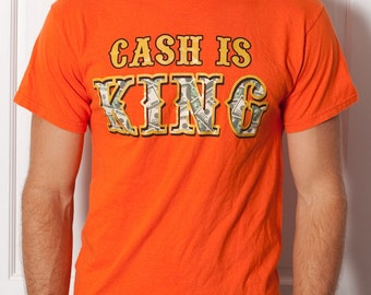 Unisex Tshirt - CASH IS KING - orange - M