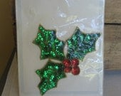 Holly Spray Sequined Applique Elegance Sequined Applique Large Holly Leaves Berries