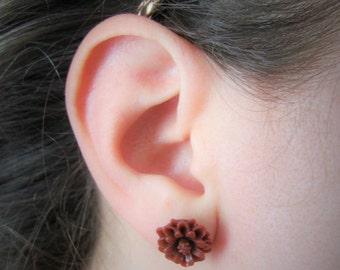 Flower Post Earrings Merlot FREE SHIPPING