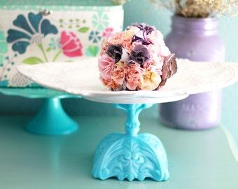 Parisian - Inspired Cake Stand in Tiffany Blue / Ornate Oval Dessert Pedestal / Hors D'oeuvre Tray / Truffle Pedestal / Petit Four Platter