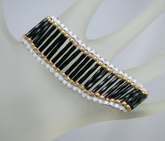 Classy & Elegant Beaded Cuff, Black, White and Gold