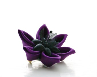 Purple Flower Brooch - Lapel Pin - Violet Silk Brooch / Fabric Brooch / Hair Clip / Hair Flower / Kanzashi Flower Clip / Corsage