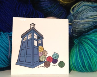 Vinyl Sticker Knitting Blue Box, Yarn Stash, Bigger on the Inside 3 inch