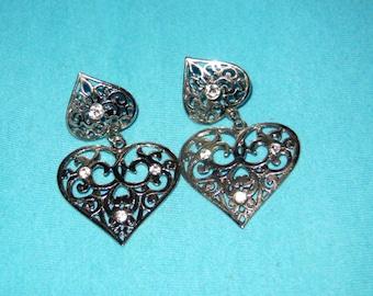 vintage heart earrings,rhinestones earrings
