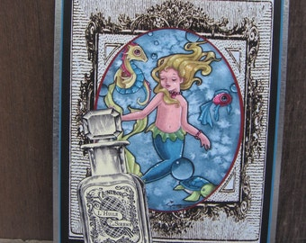 Mermaid tin sign yard art metal outdoor art french vintage style