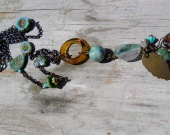 Leaf Necklace Flower Necklace Leaves Boho Gypsy BoHullyBeads Blue Green Long Necklace