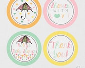 Printable Gifts tags, Cupcake Toppers, Favor Tag - Showered With Love - Baby Shower Cupcake Toppers - Raindrop Party - Rain Baby Shower