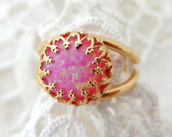 Opal ring,Pink opal ring, Gold ring, Gemstone ring, pink stone ring, October birthstone ring, Bridal ring, Delicate ring, Vintage style ring