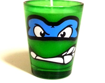 TMNT Leonardo Candle - Soy Shot Glass Candle - CHOICE of SCENT