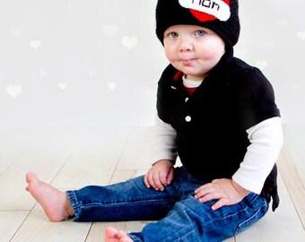"Crochet Toddler Beanie. Valentine Hat. ""I Love Mom"" Hat."
