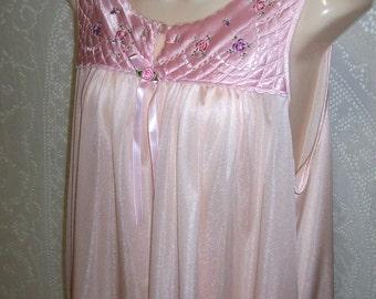 Size Medium - Vintage  Nightgown - by Secret Treasures - Pink - Below Knee Length - Lingerie  - Nightie  - Quilted Yoke