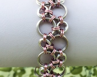 Cherry Blossom Pink Bubbles Hodo Chainmaille Bracelet - Ready To Ship
