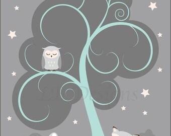 Aqua and Gray Nursery, Woodland Nursery Art, Fox Nursery Decor, Owl Nursery Print  8x10