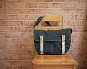 Waxed Canvas Laptop Messenger in Evergreen - Vegan Cross Body Satchel/ Back to School