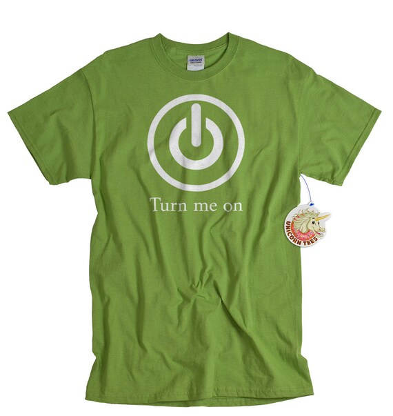 Turn me on shirt funny computer power sexy t shirt geekery nerdy computer tshirt for men boys husband boyfriend teen guys gift