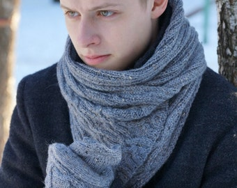 Hand knit Men's gray Scarf for him winter