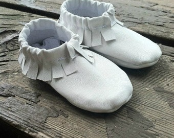 Handmade Lambskin, Infant Moccasins--- Newborn Shoe, Child's Moccasins, Leather Moccasins--- Custom Made