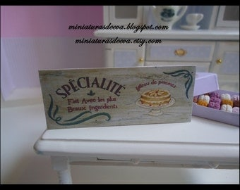 "Picture ""Specialité"". Sign for shop. Bakery, pastry shop, kitchen... Dollhouse.1/12th scale"