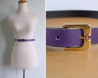 Vintage 80's Slim Purple Leather Waist Belt