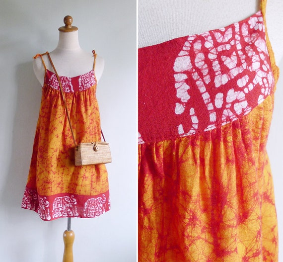 Vintage 70's Indian Elephants Orange & Red Tie Dye Cotton Dress XS S or M