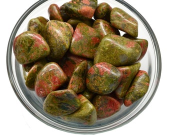 2 (Two) Large UNAKITE Tumbled Stones - Healing Crystals, Medicine Bag, Reiki, Feng Shui, Jewelry & Crafts